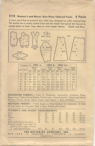 "1940's Butterick Tailored Dress with Center Panel - Bust 36"" - UC/FF - No. 2110"