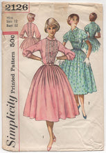 "1950's Simplicity One Piece Fit and Flare Dress with Pin Tuck Front and Collar - Bust 32"" - No. 2126"