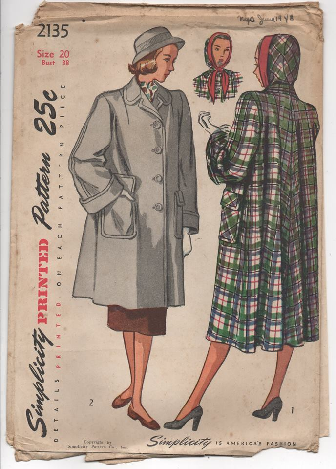 1940's Simplicity Short or Long Coat with Separate Hood - UC/FF - Bust 38