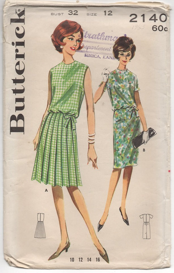1960's Butterick One Piece Dress with Pleated Skirt or Slim Skirt Pattern - Bust 32