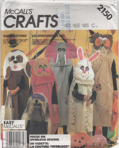 "1980's McCall's Child's Animal Costume pattern - Chest 23-32"" - No. 2150"