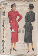 "1940's Simplicity Two Piece Suit with Extra long Jacket - Bust 38"" - UC/FF - No. 2182"