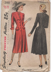 "1940's Simplicity One Piece Shirtwaist Dress with Long Square Neckline - Bust 38"" - UC/FF - No. 2193"