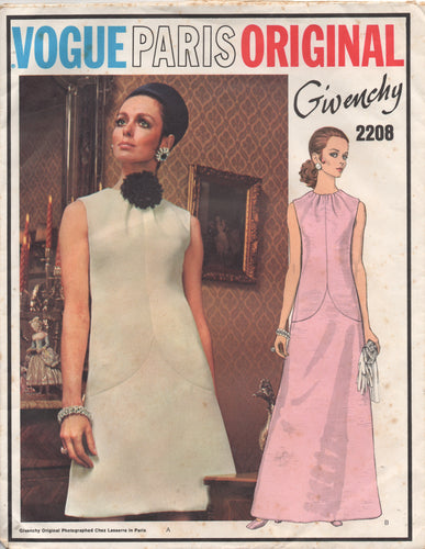 1960's Vogue Paris Original Givenchy One-piece Maxi Dress - Bust 32.5