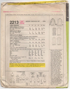"1960's McCall's Blouse pattern in six styles - Bust 34"" - No. 2213"
