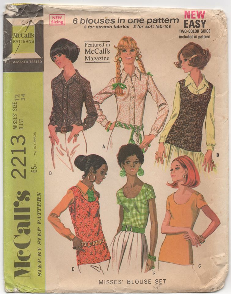 1960's McCall's Blouse pattern in six styles - Bust 34