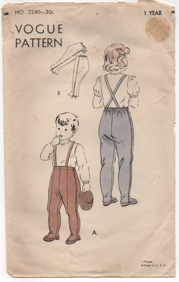 1940's Vogue Leggings with suspenders for Children - 1 year - No. 2240