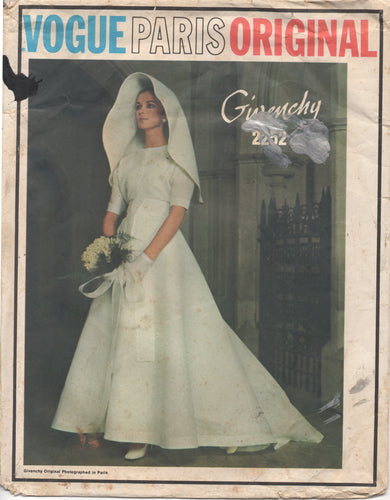 1960's Vogue Paris Original Wedding Gown and Structural Headpiece - Bust 32.5