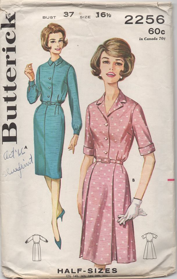 1960's Butterick One Piece Button Up Dress with Two Sleeve Lengths - Bust 37