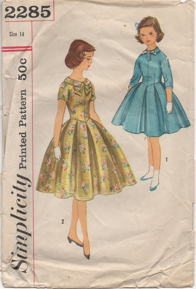 1950's Simplicity Girl's One Piece Dress with Inverted box pleats and collar - Bust 32