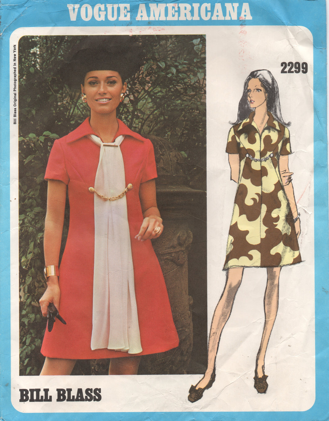 1970's Vogue Americana One Piece Dress with Large Collar- Bill Blass - Bust 32.5