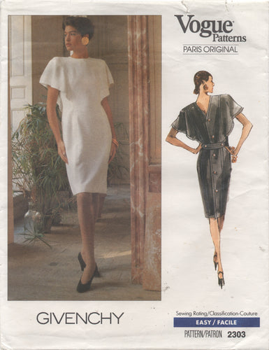 1980's Vogue Paris Original One-Piece Button Back Dress with Drape Sleeves - Givenchy - Bust 34-36-38