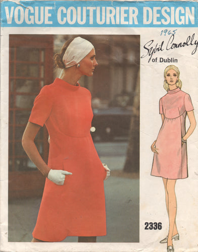 1960's Vogue Couturier Design One Piece Dress with Scoop detail and Mandarin Collar - Bust 36