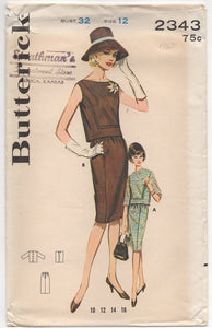 "1960's Butterick Two Piece Dress with Slim Skirt Pattern - Bust 32"" - No. 2343"
