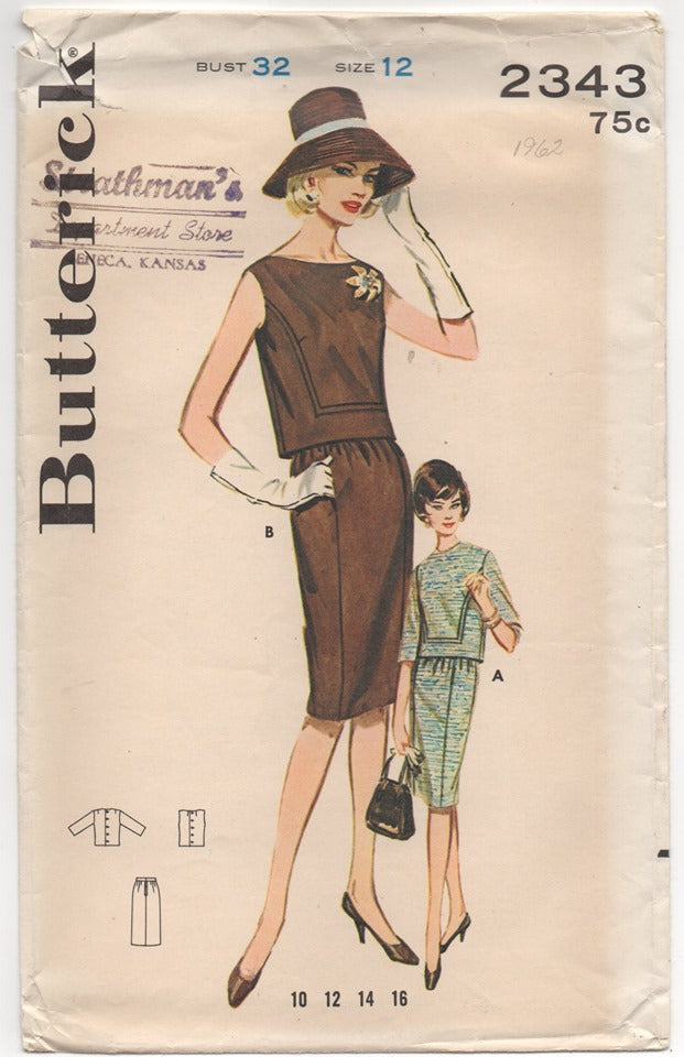 1960's Butterick Two Piece Dress with Slim Skirt Pattern - Bust 32