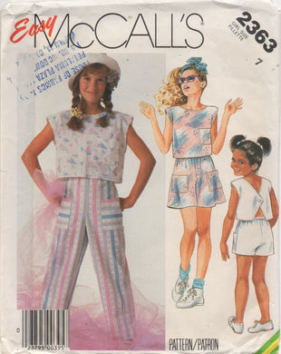 1980's McCall's Child's Button Back Top, Shorts, Culotte and Pants - Waist 26