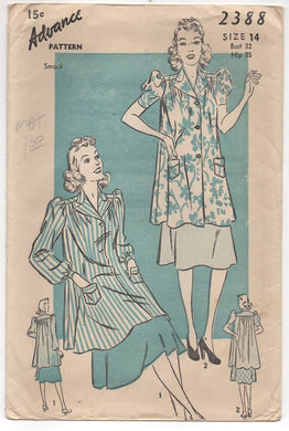 1930's Advance Smock with Puff short or long sleeves - Bust 32