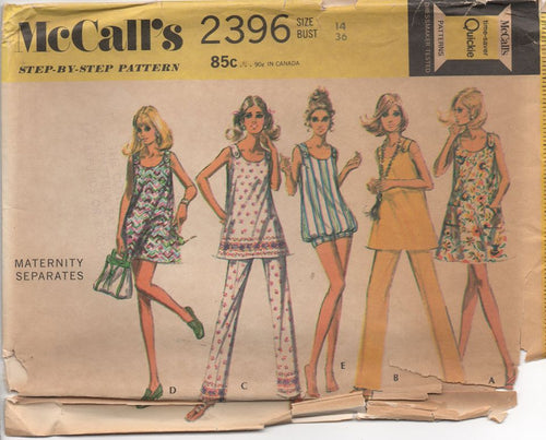 1970's McCall's Maternity Blouse and Shorts or Pants - Bust 36