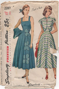 "1940's Simplicity Sundress and Bolero with Transfer - Bust 32"" - No. 2397"