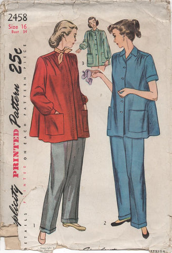 1950's Simplicity Maternity Smock and Slacks - Bust 34