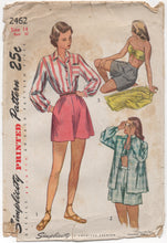"1940's Simplicity Three-Piece Playsuit including Shirt, Bra and Shorts - Bust 32"" - No. 2462"