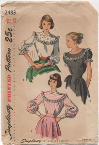 "1940's Simplicity Blouse with large yoke and Three Sleeve Lengths - Bust 32"" - No. 2483"