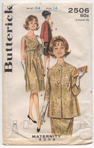 1960's Butterick Maternity One Piece Dress and Jacket Pattern - Bust 34