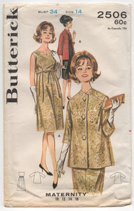 "1960's Butterick Maternity One Piece Dress and Jacket Pattern - Bust 34"" - No. 2506"