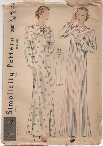 1930's Simplicity Long Nightgown with Patch Pocket - Bust 46 - No. 2507
