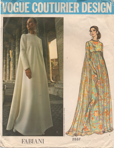 1970's Vogue Couturier Design - One Piece Empire Waist Maxi Evening Gown with Long sleeve - Bust 31.5