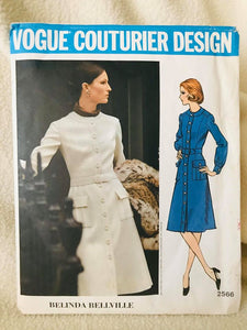 "1970's Vogue Couturier One Piece Dress with Jewel Neckline and Tie Waist - Bust 36"" - No. 2566"