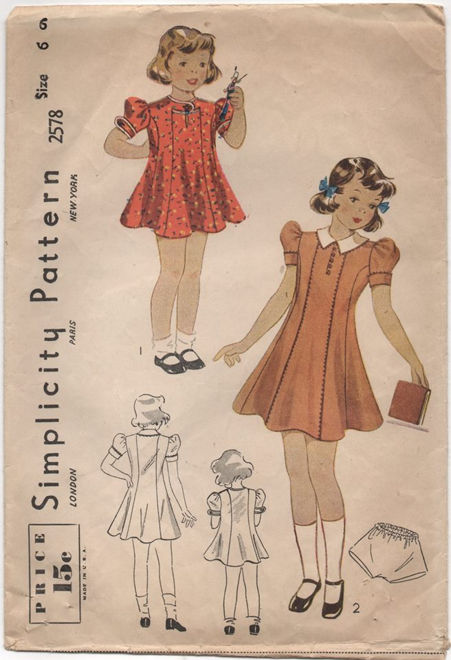 1940's Simplicity Girl's One Piece Dress with Puff Sleeves and Panties - Breast 24
