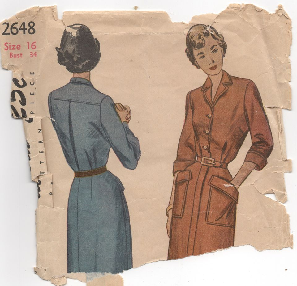 1950's Simplicity One Piece Shirtwaist Dress with large pockets - Bust 34