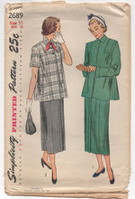 "1940's Simplicity Two Piece Maternity Outfit with Jacket and Skirt - Bust 29"" - #2689"