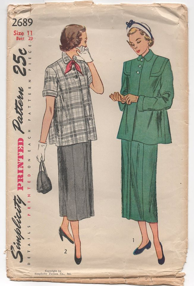 1940's Simplicity Two Piece Maternity Outfit with Jacket and Skirt - Bust 29