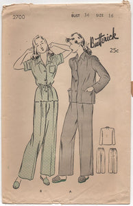 "1940's Butterick Two Piece Tailored Pajamas - Bust 34"" - No. 2700"