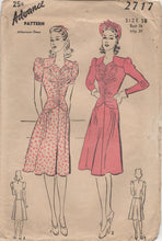 "1940's Advance One Piece Dress with Gathered Bodice and Two Sleeve Styles - Bust 36"" - No. 2717"