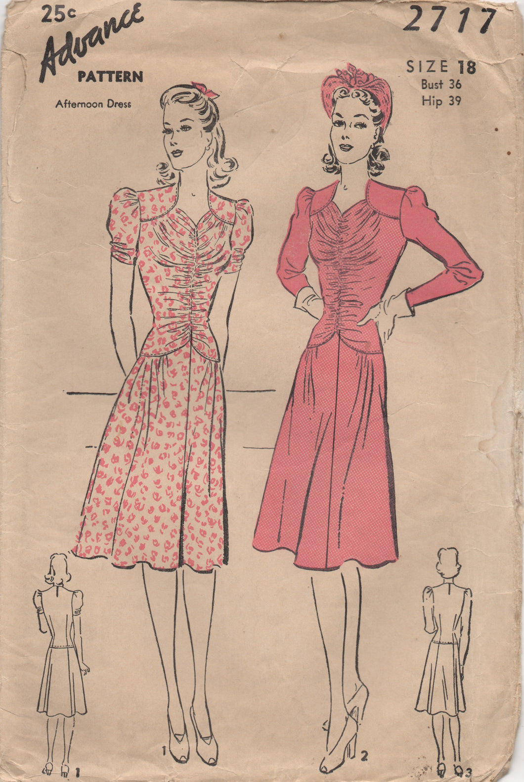 1940's Advance One Piece Dress with Gathered Bodice and Two Sleeve Styles - Bust 36