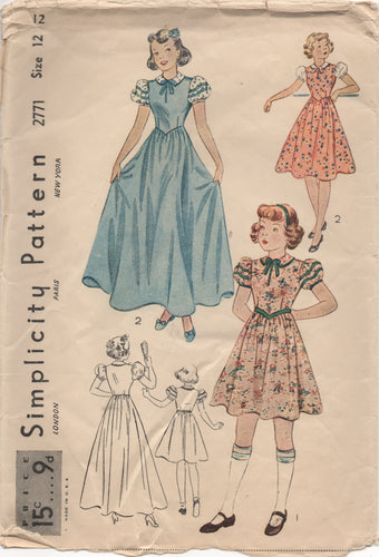 1940's Simplicity Girl's One Piece Dress with Puff Sleeves and Peter Pan Collar - Breast 30
