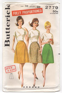 "1960's Butterick Proportioned A-line Skirt - Waist 28"" - UC/FF - No. 2779"