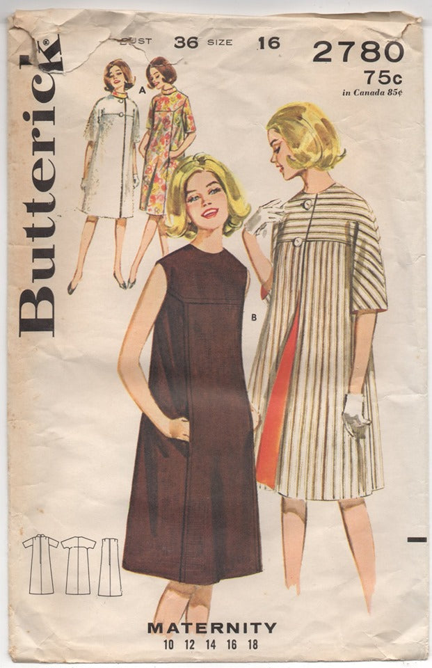 1960's Butterick Maternity One Piece Dress and Jacket Pattern - Bust 36