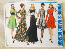 "1970's Vogue Basic Design One Piece Midi or Maxi Dress with raised midriff - Bust 36"" - No. 2782"