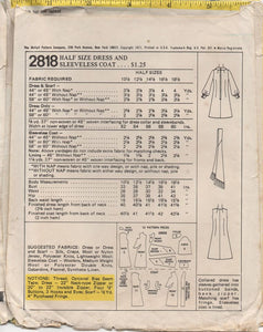 "1970's McCall's One Piece Dress with Long Sleeves, Scarf and Sleeveless Coat- Bust 41"" - No. 2818"