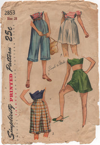 "1940's Simplicity High Waist Shorts or Pedal Pushers - Waist 28"" - No. 2853"