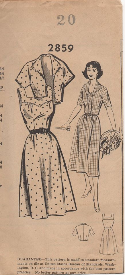 1950's Mail Order One Piece Dress with Yoke Accent and Bolero - Bust 38