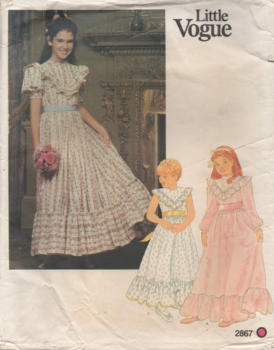 1970's Little Vogue Girl's Prairie Dress with Ruffle Accents - Bust 30