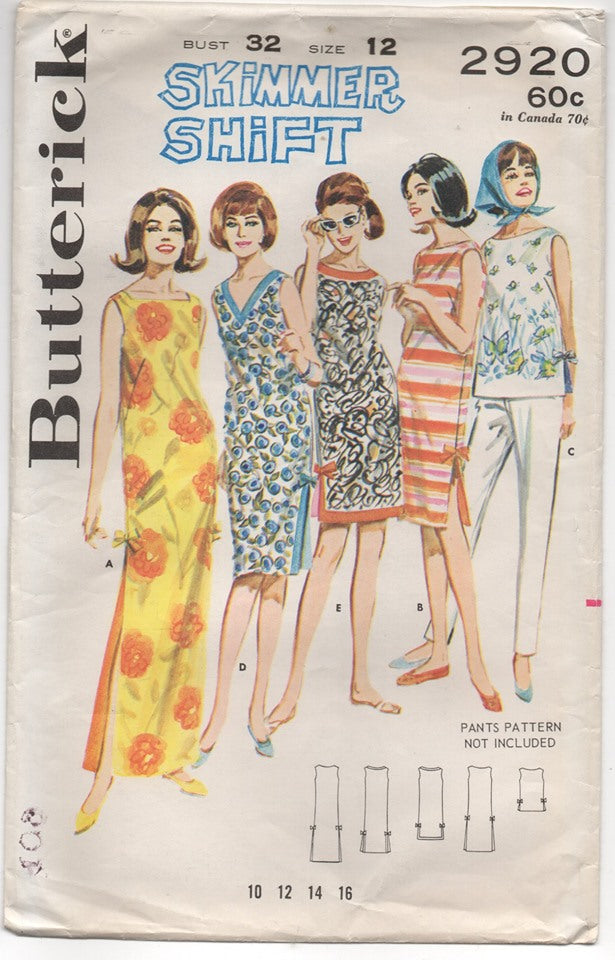 1960's Butterick Shift Dress in 4 Lengths - Bust 32