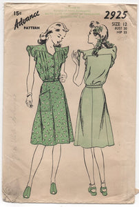 "1940's Advance One Piece Dress with Tucked Blouse, Flutter Cap Sleeves and Pocket - bust 30"" - #2925"