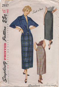 "1940's Simplicity Tie Jacket with kimono sleeves and Slim Skirt - Bust 34"" - No. 2937"