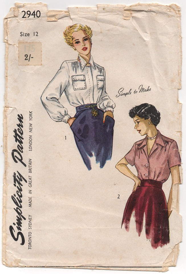 1940's Simplicity Button Up Blouse with slight gather at shoulder Pattern - Bust 30